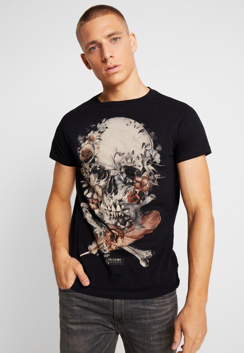 Religion - ROSES SKULL STRAIGHT HEM TEE - T-shirt print - black