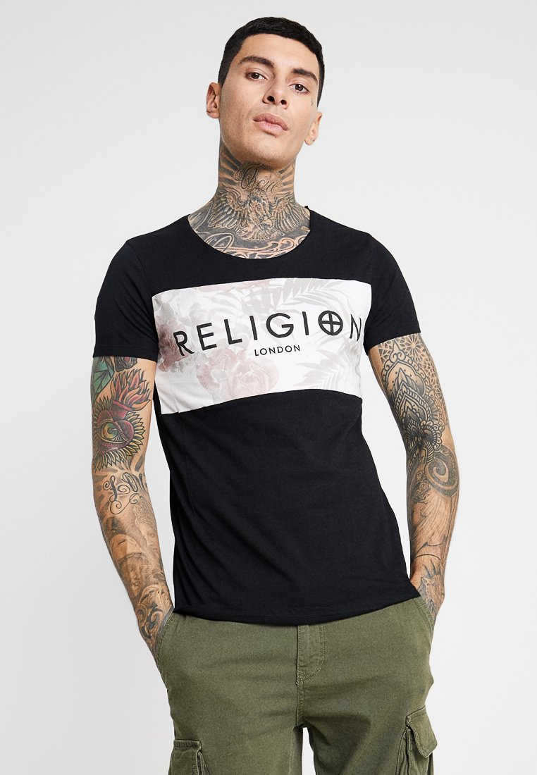 Religion - BOX ROSCES SCOOP NECK TEE - Print T-shirt - black