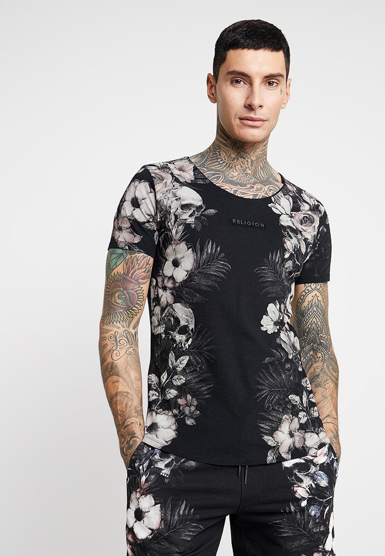 Religion - VINES SCOOPY NECK TEE - Print T-shirt - black