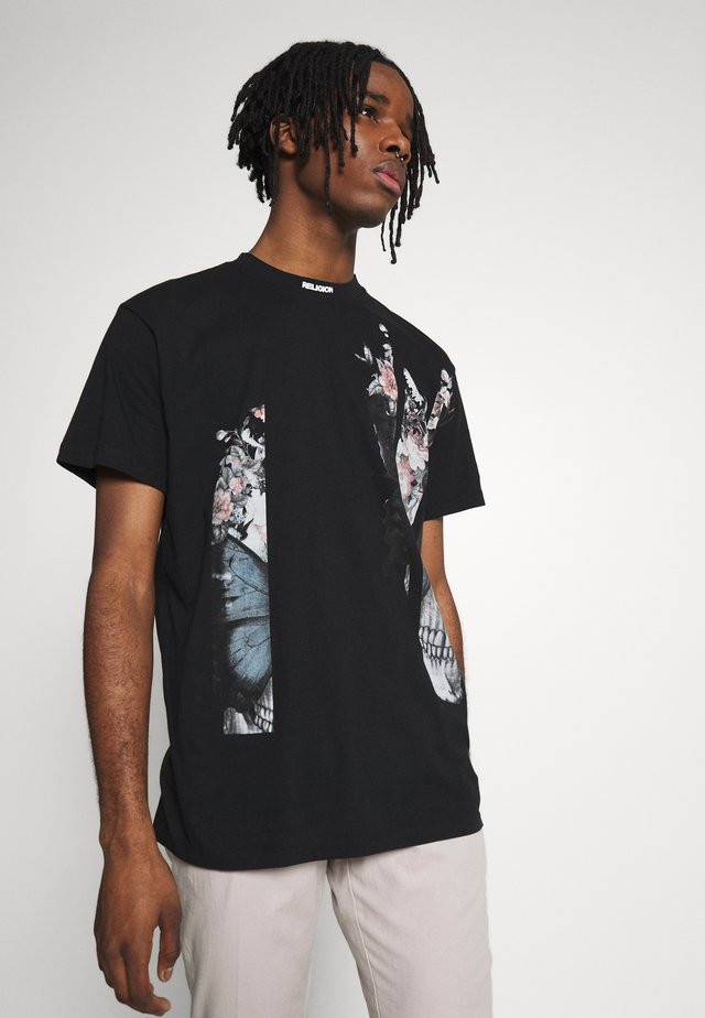 BUTTERFLY TEE - Print T-shirt - black/white