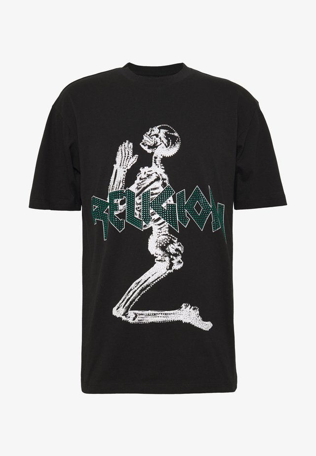 PLATINUM TEE - Print T-shirt - black/green