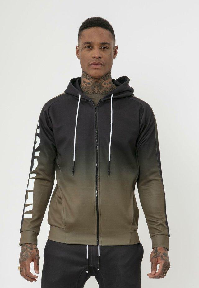 GRADIENT HOODY - Zip-up hoodie - black/khaki