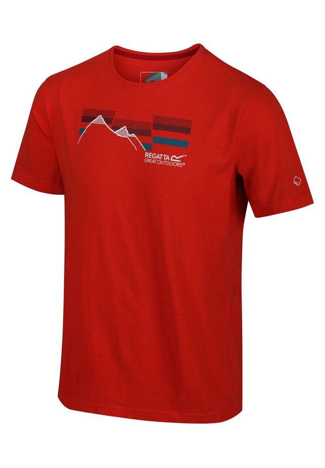 BREEZED  - Print T-shirt - burnt salmon