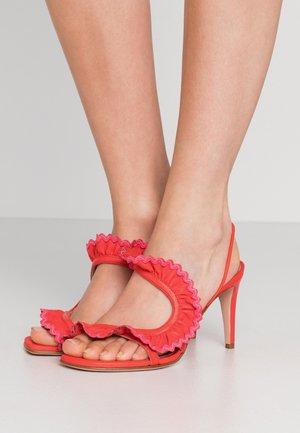 Sandály na vysokém podpatku - coral/fuschia