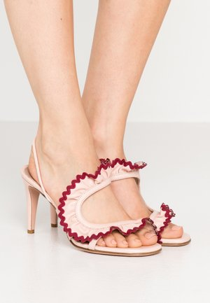 High heeled sandals - nude/bordeaux