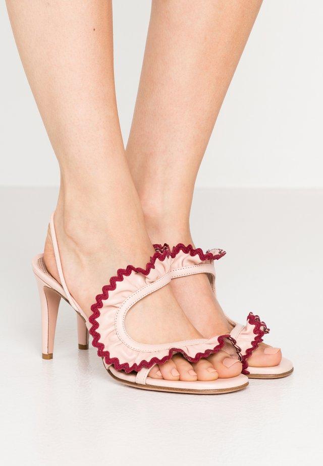 Sandały na obcasie - nude/bordeaux