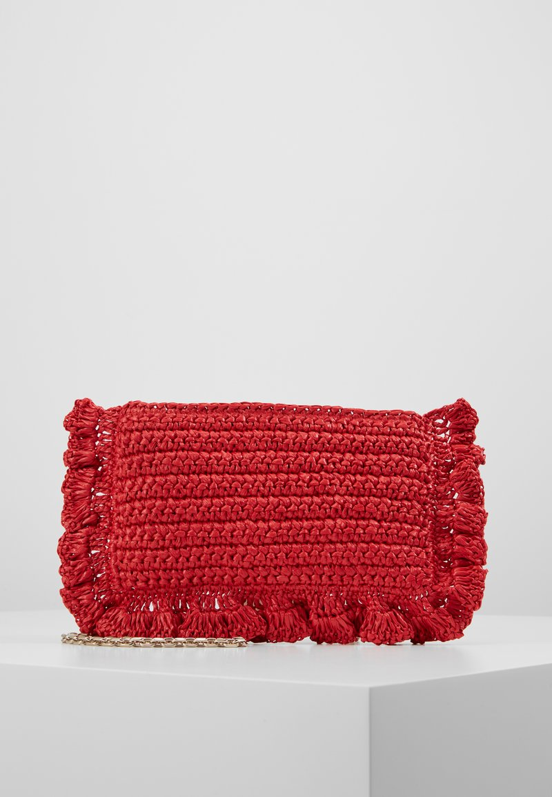 Red V - ROCK RUFFLES RAFFIA CLUTCH - Across body bag - coral