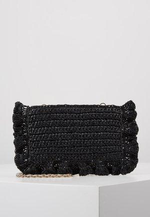ROCK RUFFLES RAFFIA CLUTCH - Across body bag - black