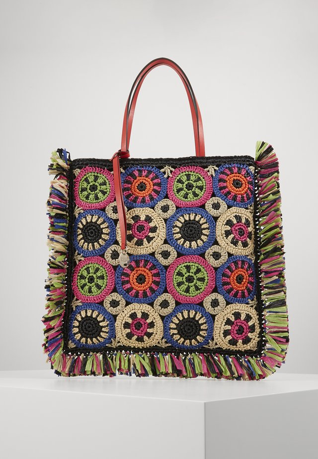 RAFFIA TOTE MULTICOLUR - Shoppingveske - black multi