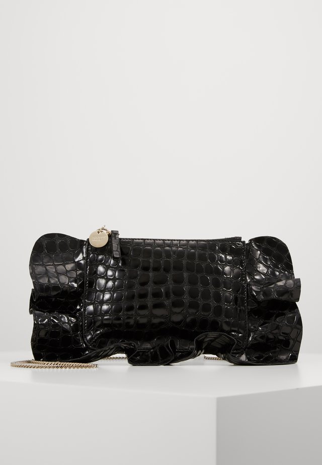CROCO RUFFLE WALLET ON CHAIN - Across body bag - nero
