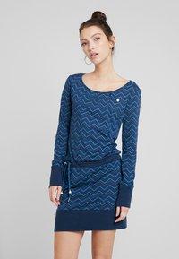 Ragwear - ALEXA ZIG ZAG - Vestito di maglina - denim blue - 0