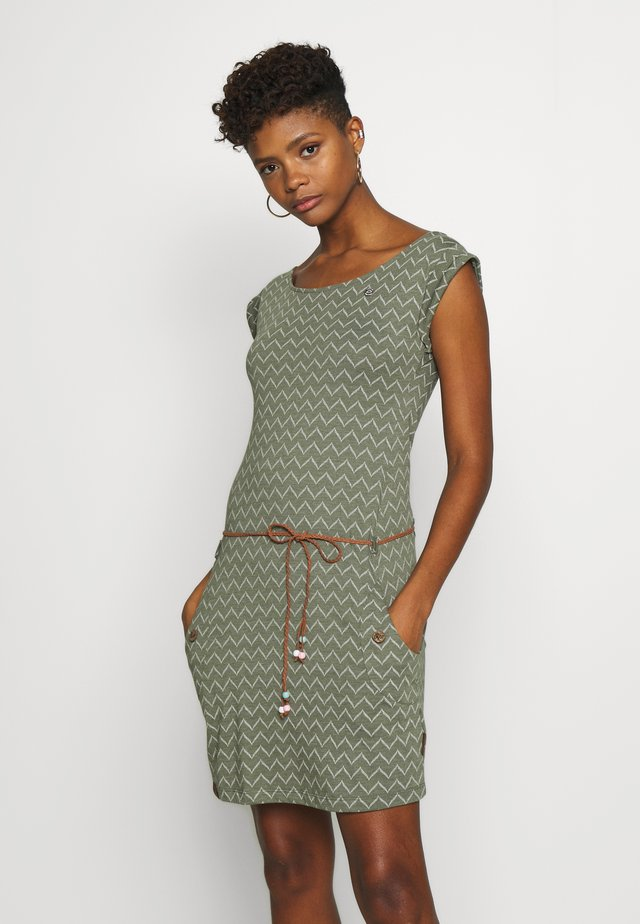 TAG ZIG ZAG - Jersey dress - olive