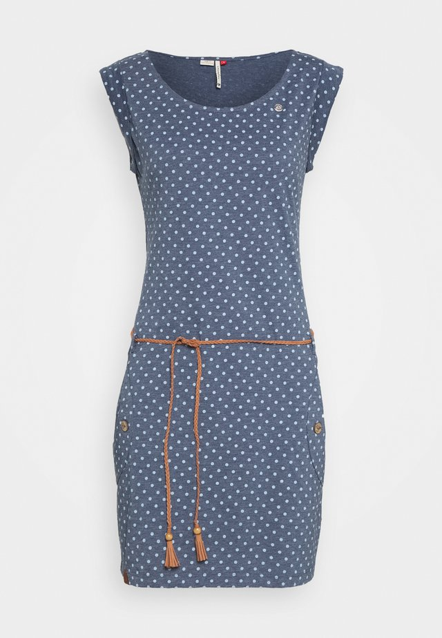 TAG DOTS - Jerseykleid - denim blue