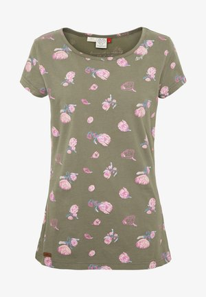 MINT FLOWERS - T-shirts med print - olive