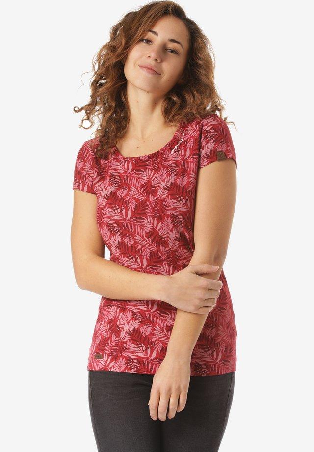 MINT LEAVES - Print T-shirt - red