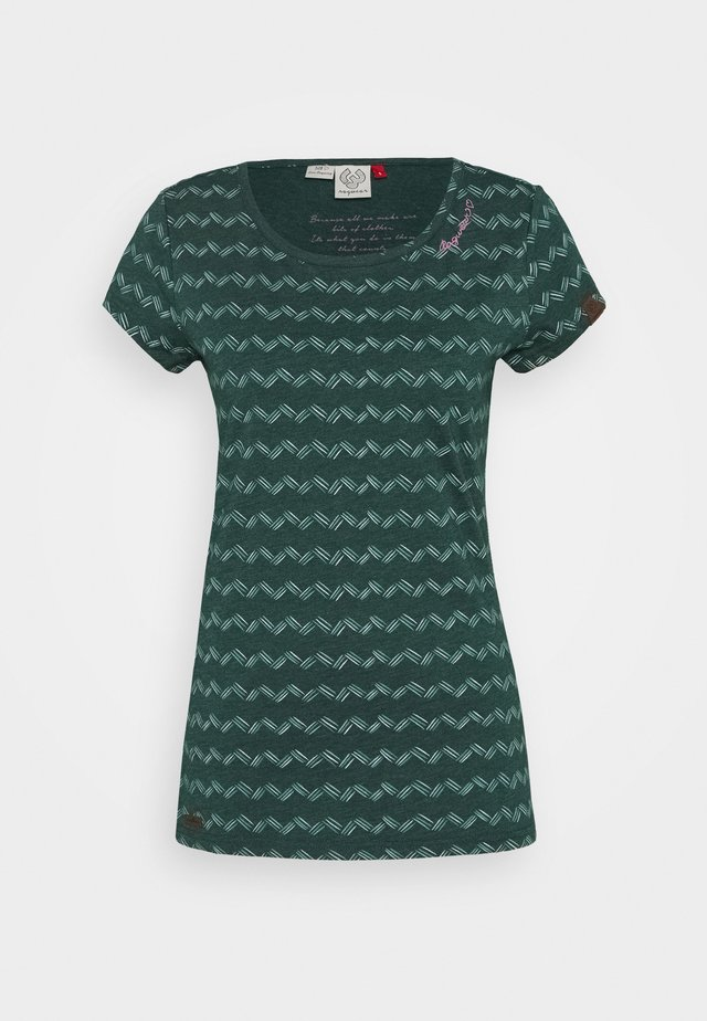 ZIG ZAG - Print T-shirt - dark green