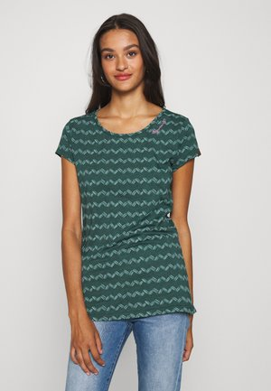 ZIG ZAG - Print T-shirt - dark green