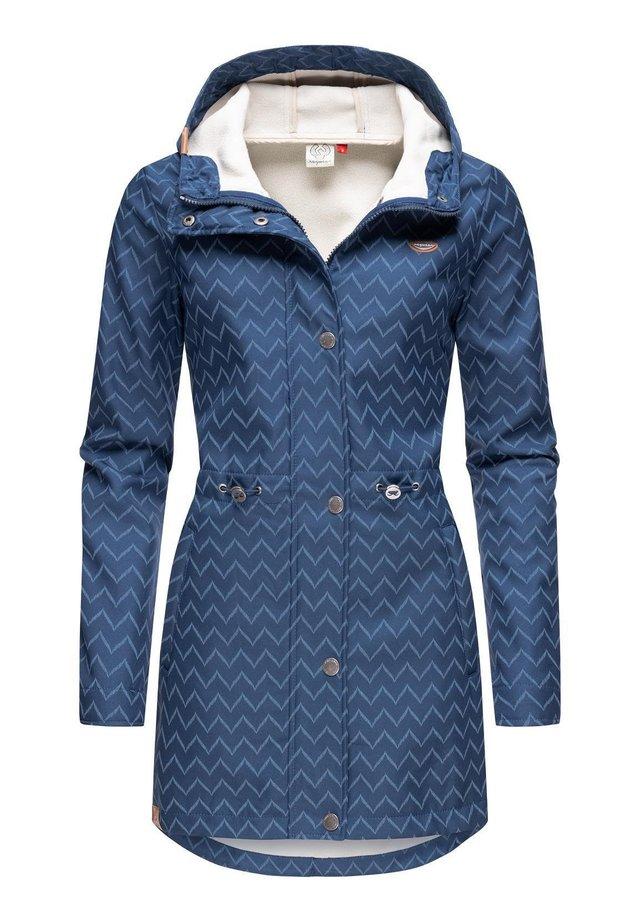 HALINA LONG - Short coat - denim blue zig zag