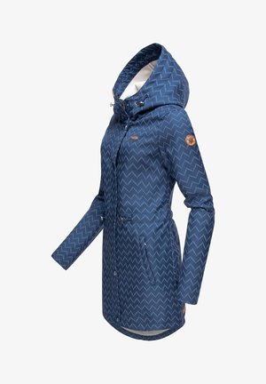 HALINA LONG - Short coat - denim blue zig zag