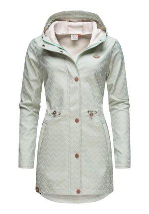 HALINA LONG - Short coat - dusty green zig zag