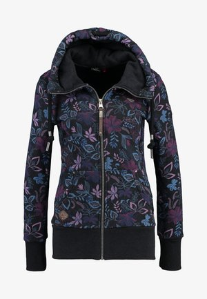 NESKA FLOWERS ZIP - Mikina na zip - black