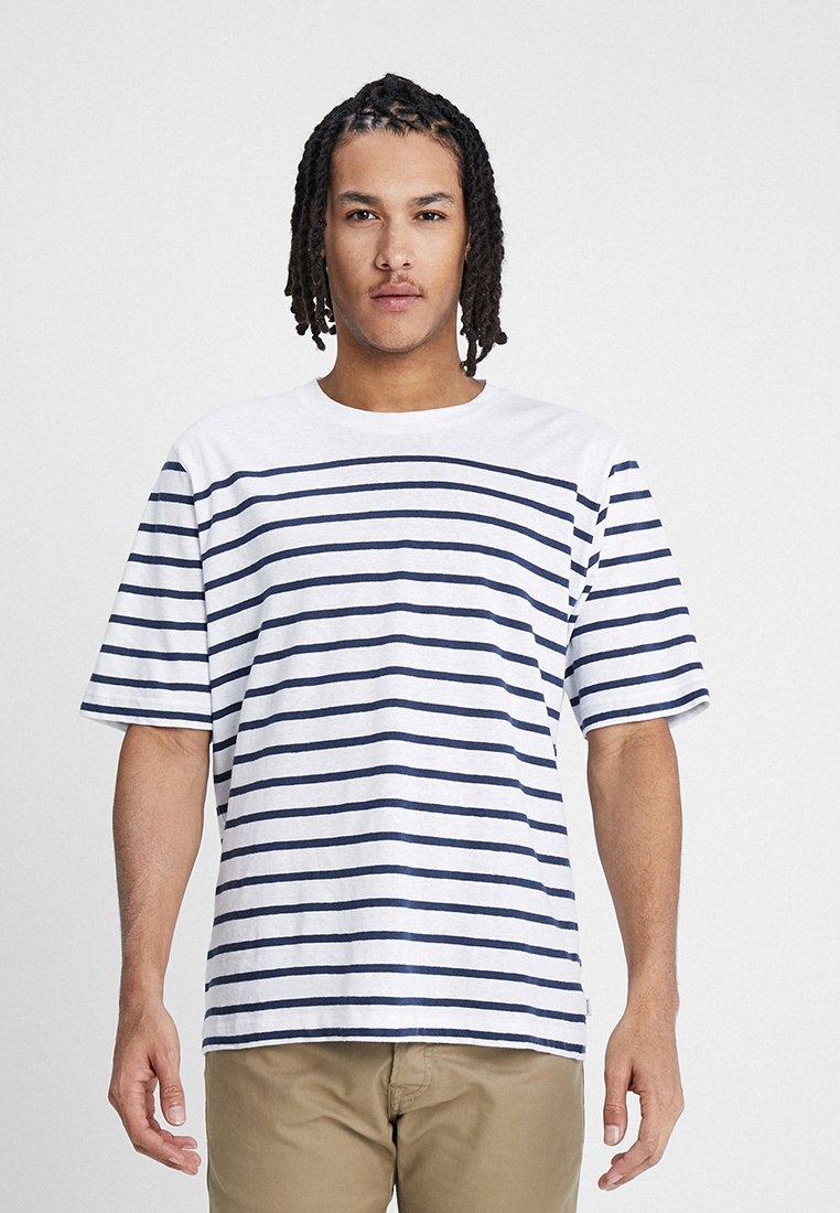 Resteröds - MID SLEEVE STRIPES - Print T-shirt - navy