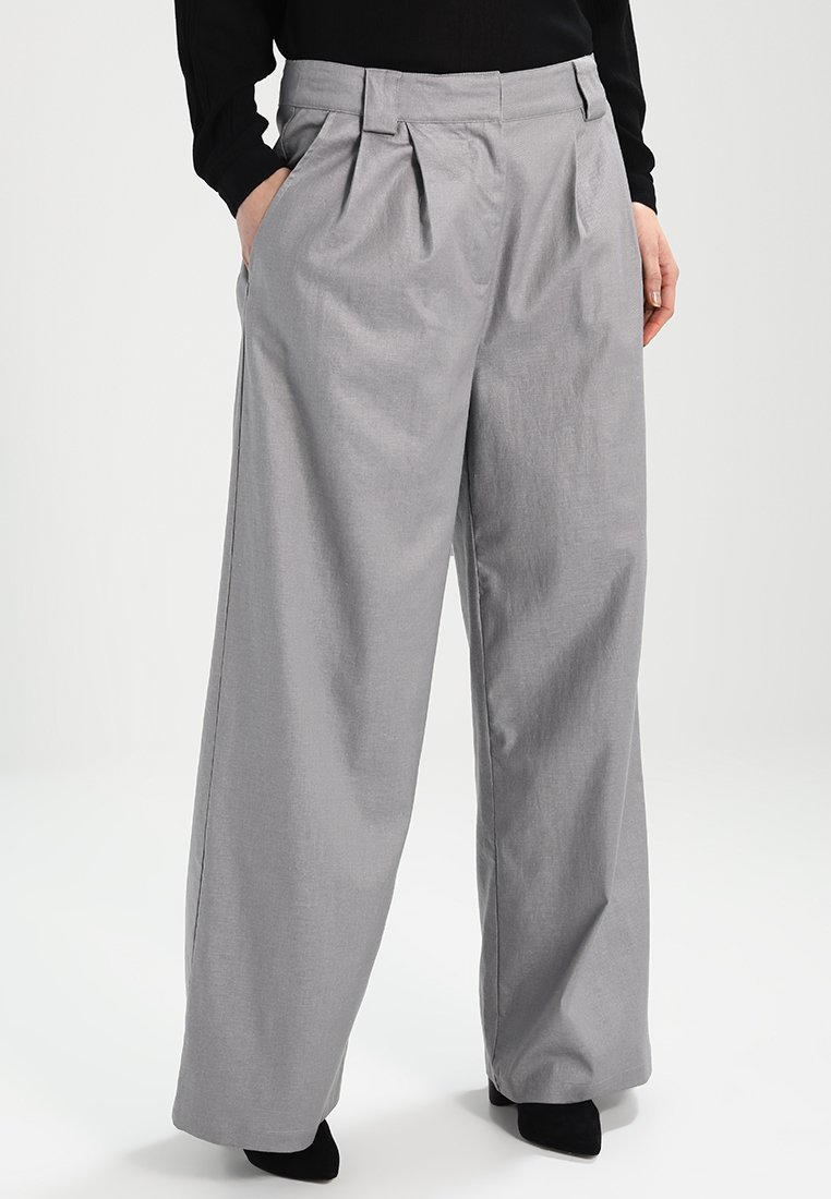 Soft Rebels - REBECCA WIDE PANTS - Trousers - ash grey