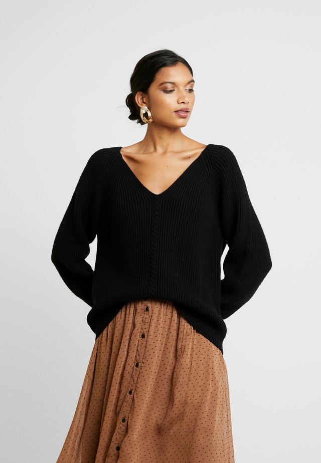SANNE LONG V-NECK - Strickpullover - black