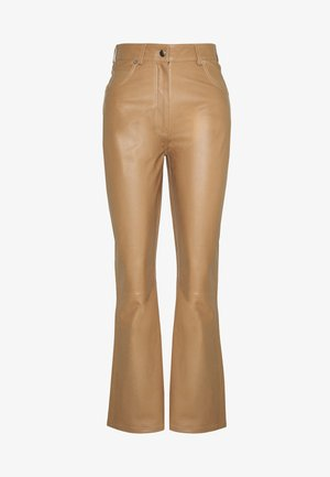 LEO PANTS - Leather trousers - khaki