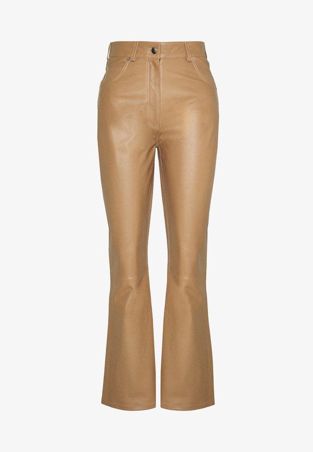 LEO PANTS - Leather trousers - khaki