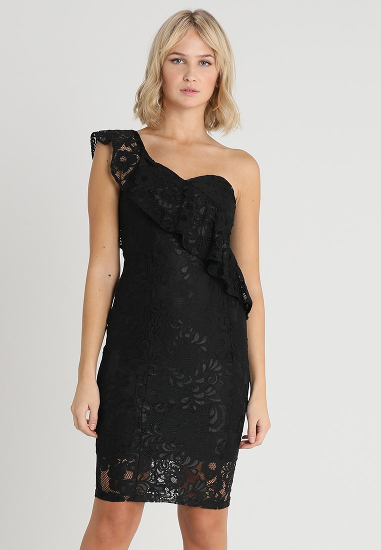 Rare London - RUFFLE ASYMMETRIC DRESS - Vestito elegante - black