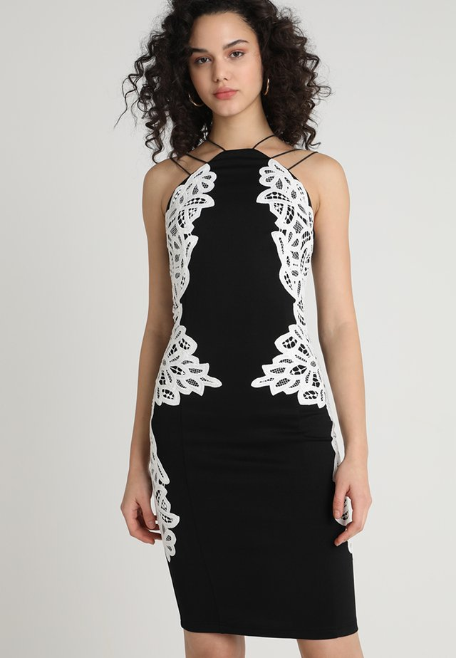 APPLIQUE MIDI DRESS - Fodralklänning - black/white