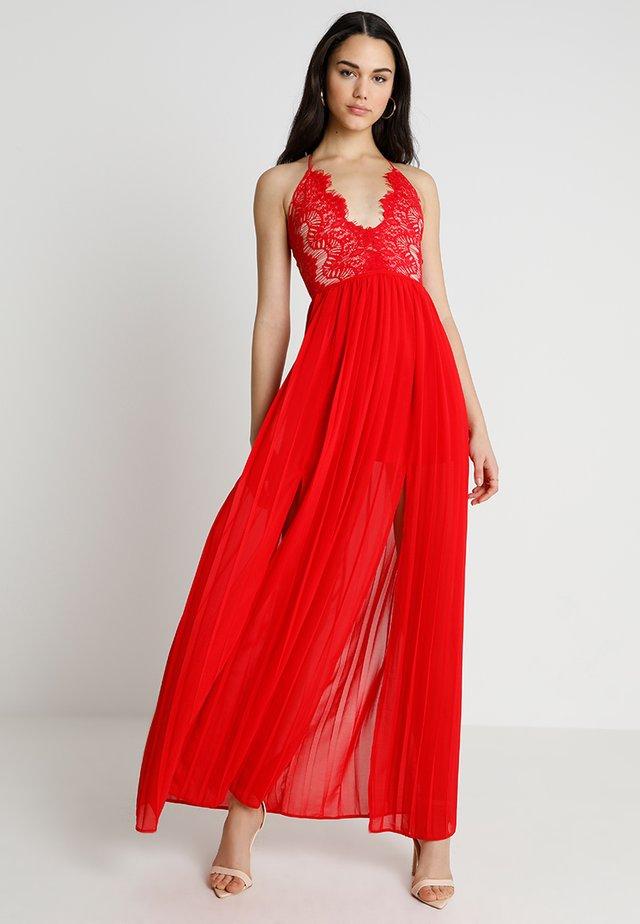 EYELASH DOUBLE SPLIT MAXI DRESS - Gallakjole - red