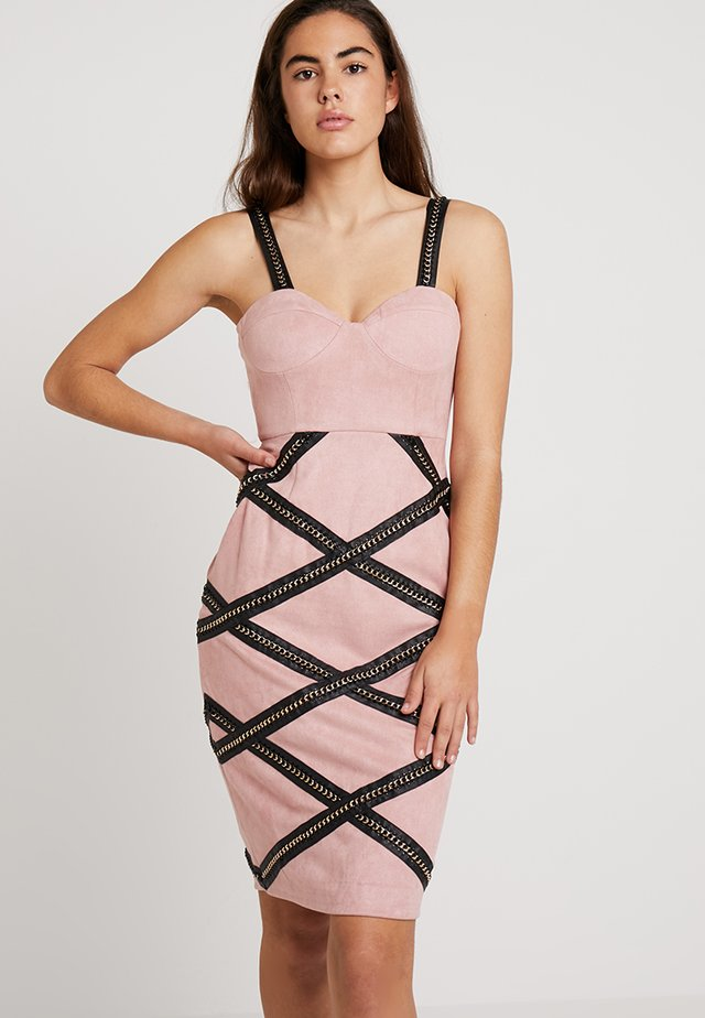 CHAIN TRIM MIDI DRESS - Vardagsklänning - pink