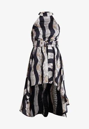 HIGH NECK RING DETAIL HIGH LOW DRESS - Sukienka koktajlowa - black multi