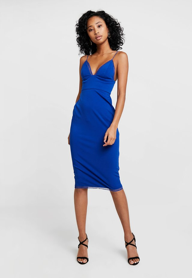 LADDER TRIM DETAIL MIDI DRESS - Fodralklänning - blue