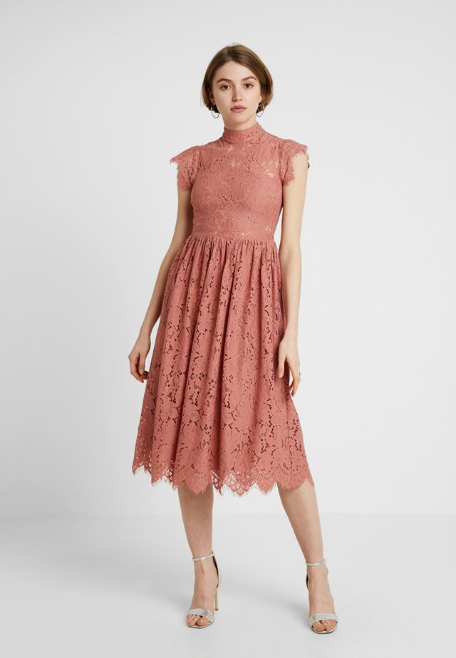 HIGH NECK FRILL PROM DRESS - Cocktailjurk - dusky pink