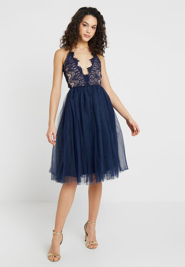 SLEEVELESS EYELASH PROM DRESS - Cocktailjurk - navy