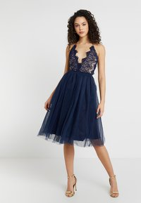 Rare London - SLEEVELESS EYELASH PROM DRESS - Sukienka koktajlowa - navy - 2