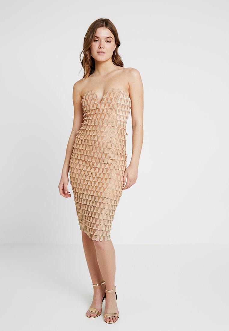 Rare London - TEXTURED FAN BANDEAU DRESS - Cocktail dress / Party dress - rose gold