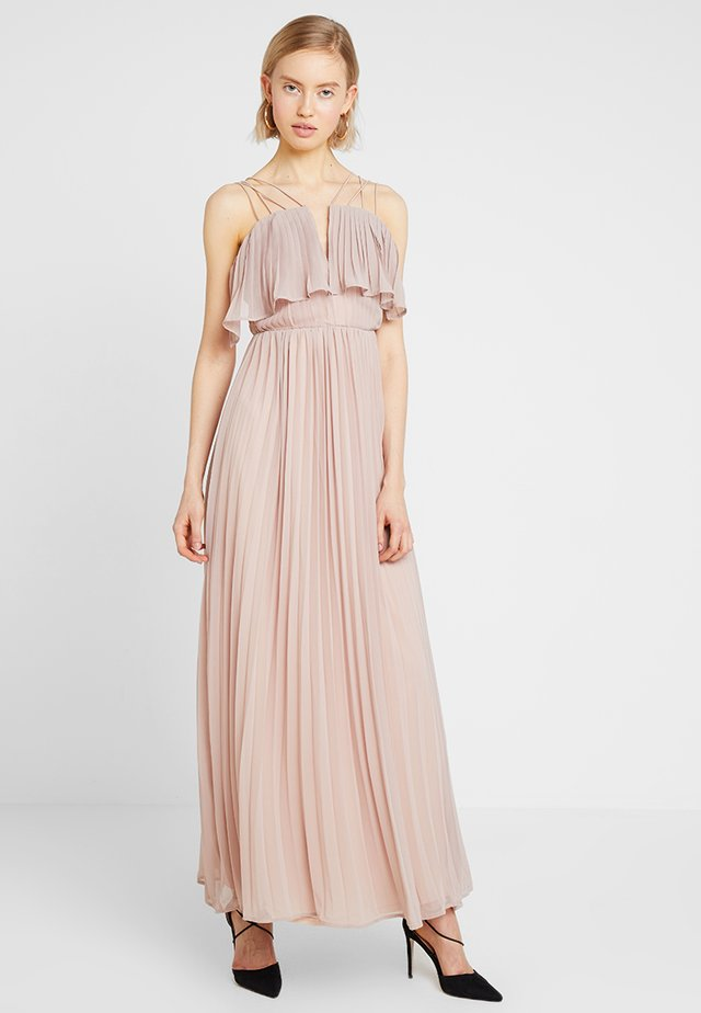 RING BACK DETAIL PLEATED DRESS - Galajurk - dusky pink