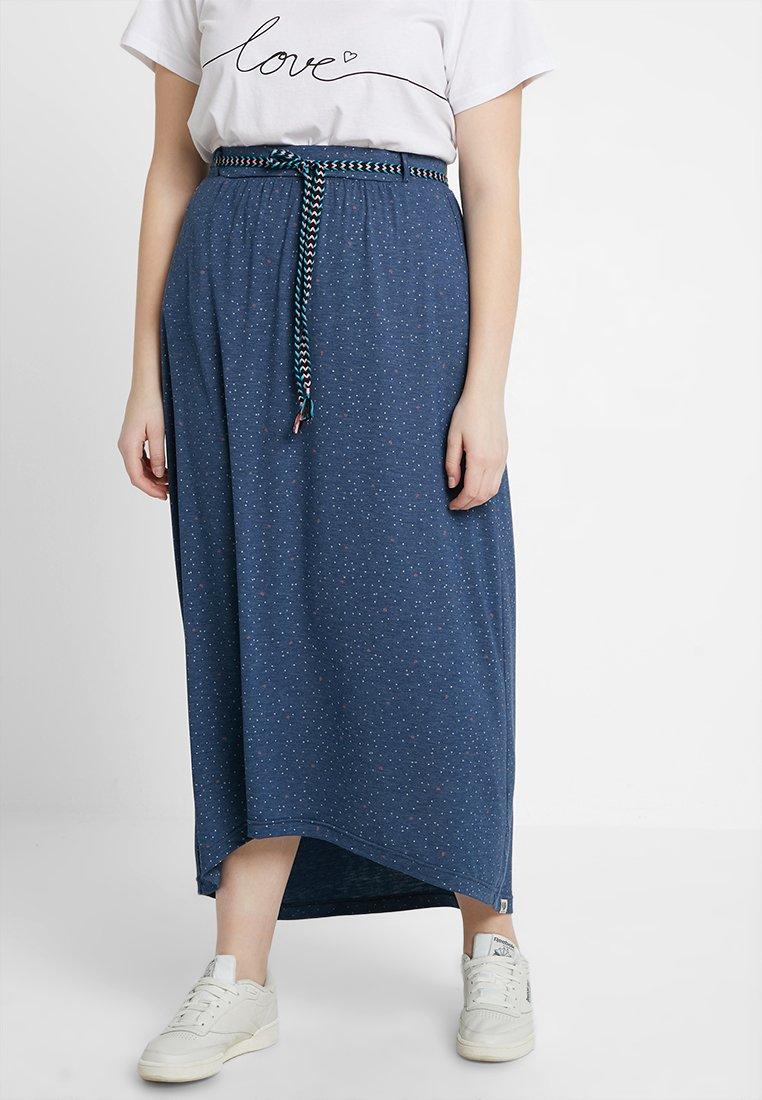 Ragwear Plus - EXCLUSIVE GLEN PRINTED MAXI SKIRT - Maxirock - denim blue