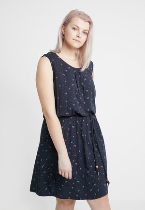 EXCLUSIVE LEONA STRAWBERRY PRINT SLEEVELESS DRESS - Jerseykjole - navy