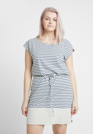 EXCLUSIVE SOHO STRIPE TIE WAIST T-SHIRT DRESS - Jerseykjole - white