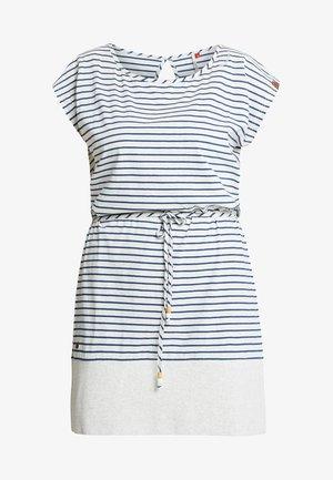 EXCLUSIVE SOHO STRIPE TIE WAIST T-SHIRT DRESS - Jerseykjole - white