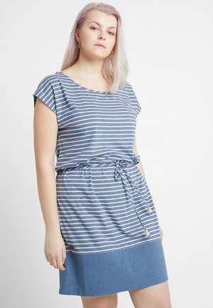 EXCLUSIVE SOHO STRIPE TIE WAIST T-SHIRT DRESS - Jersey dress - blue