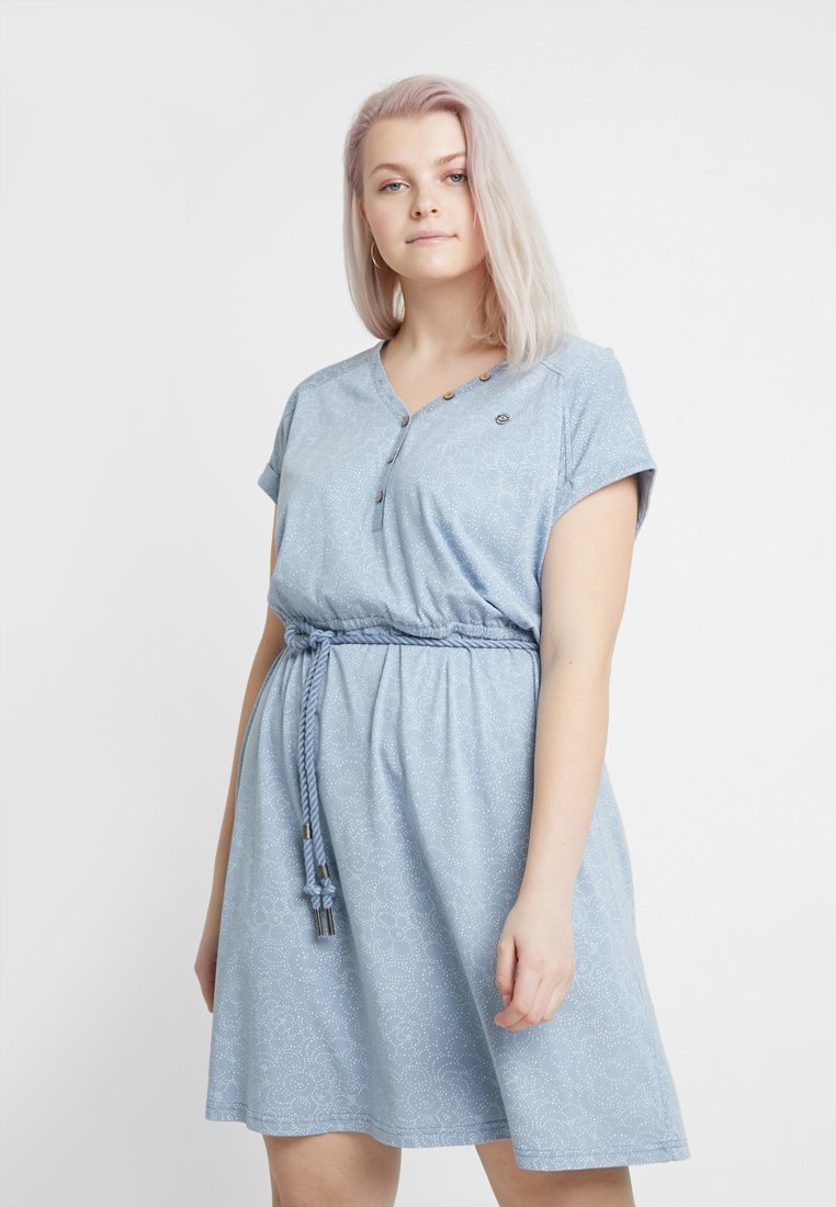 Ragwear Plus - EXCLUSIVE BRITTA DITSY PRINT TIE WAIST DRESS - Jerseykjole - dusty blue