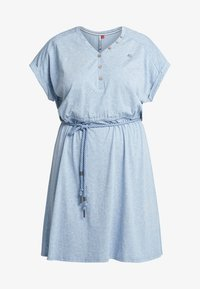 Ragwear Plus - EXCLUSIVE BRITTA DITSY PRINT TIE WAIST DRESS - Jerseykjole - dusty blue - 5