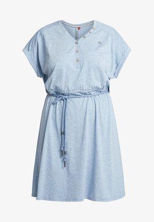 EXCLUSIVE BRITTA DITSY PRINT TIE WAIST DRESS - Jerseykjole - dusty blue