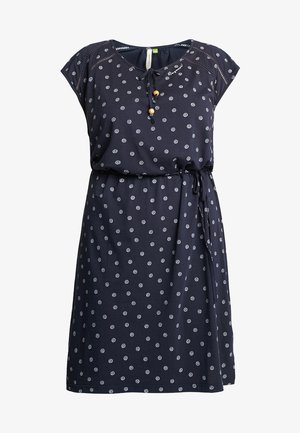 EXCLUSIVE TETUAN DITSY PRINT TIE DETAIL T-SHIRT DRESS - Trikoomekko - navy